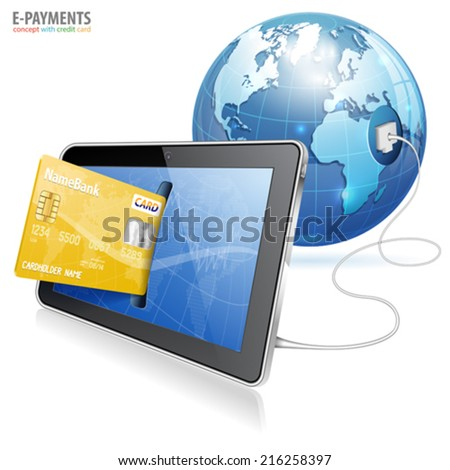 Electronic Payment Concept - Tablet PC with Credit Card and Earth, vector isolated on white background - stock vector