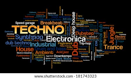 Electronic Techno Music Styles Word Cloud Bubble Tag Tree vector isolated on black - stock vector