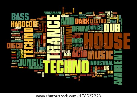 Electronic Techno Music Styles Word Cloud Bubble vector isolated on black - stock vector