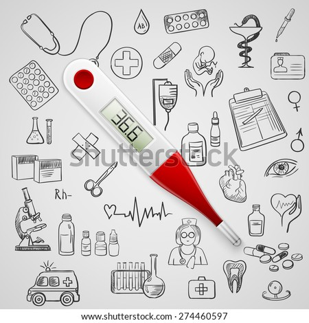 electronic thermometer and hand draw medicine icon, excellent vector illustration, EPS 10 - stock vector