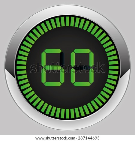 Electronic timer 60 seconds - stock vector