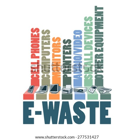 Electronic waste categories composition infographic. E-waste consisting of used cell phones, computers, monitors, printers, audio video devices and other electric waste. WEEE management concept. - stock vector