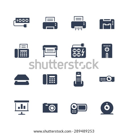 Electronics and gadgets icon set: surge suppressor, printer, shredder, multifunction device, fax, plotter, UPS, scanner, phone, projector, screen, photo camera, video camera, web camera - stock vector