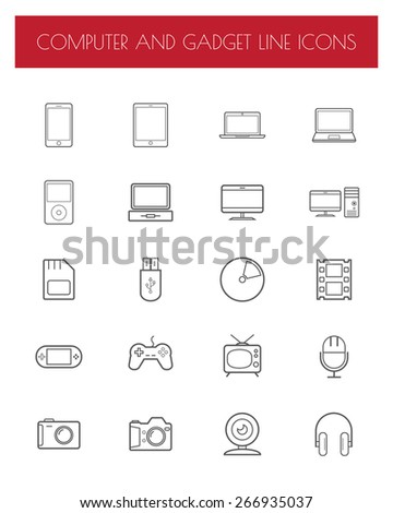 Electronics and gadgets thin line icons set. - stock vector