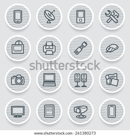 Electronics black icons on gray stickers. - stock vector