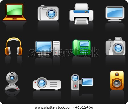 Electronics Computers Multimedia icon set - stock vector