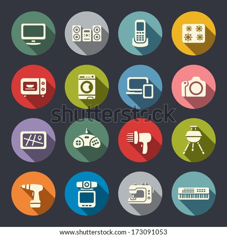 Electronics flat icon set - stock vector
