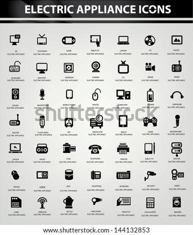 Electronics icon set,Black version vector - stock vector