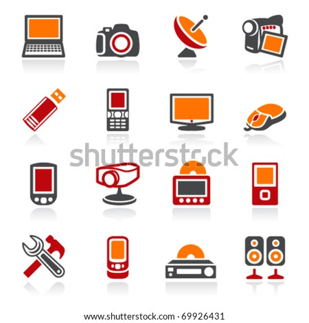 Electronics icons. Color series. - stock vector