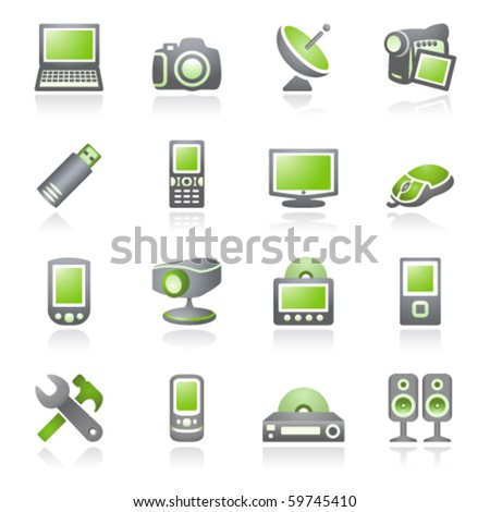 Electronics icons for web.  Gray and green series. - stock vector