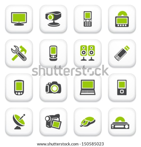 Electronics icons. Green gray series. - stock vector