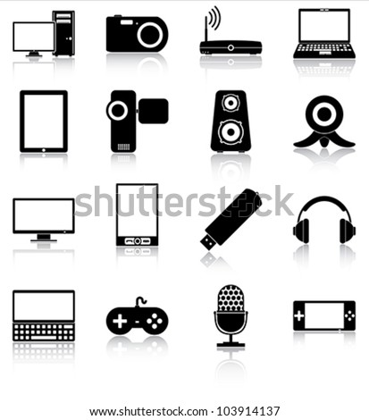 Electronics icons - 16 icons of electronic devices with reflections. - stock vector