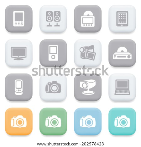 Electronics icons on color buttons. - stock vector