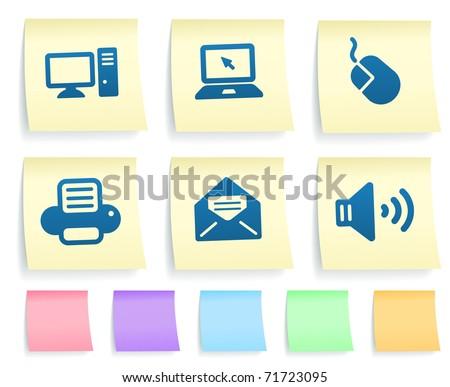 Electronics Icons on Post It Note Paper Collection Original Illustration - stock vector