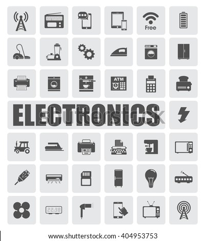 Electronics icons set - stock vector