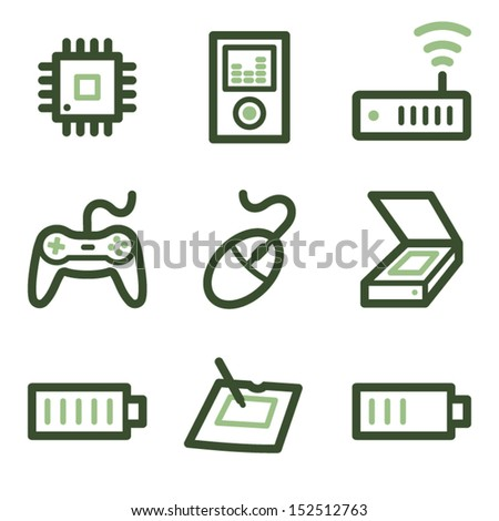 Electronics icons set 2, green line contour series - stock vector
