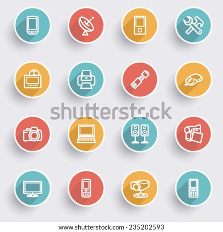 Electronics icons with color buttons on gray background. - stock vector
