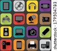 Electronics icons with flat long shadow style - stock vector