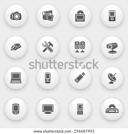 Electronics icons with white buttons on gray background. - stock vector