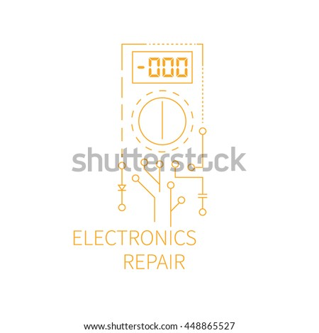 Electronics repair logo. Abstract multimeter conducting diagnostic chips. Vector illustration. - stock vector