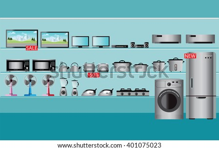 Electronics store interior, laptops, television, Computers, fan, Toaster, refrigerator, washing machine, kettle, rice cooker, air conditioner,  Iron and blender fruit on shelf ,vector illustration. - stock vector