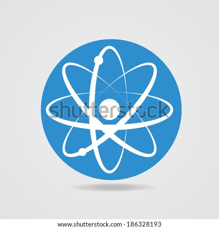 Electronics transform. The atomic model icon - stock vector
