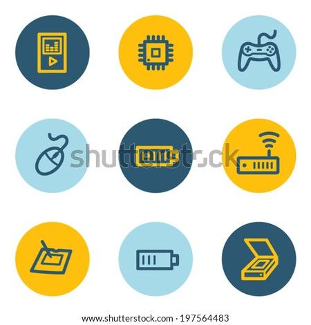 Electronics web icon set 2, blue and yellow circle buttons - stock vector