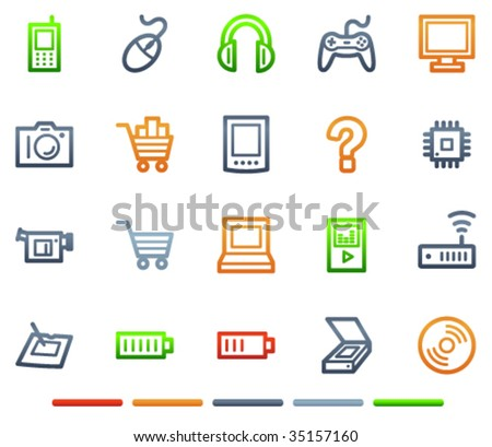 Electronics web icons, colour symbols series - stock vector