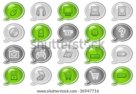 Electronics web icons, green and grey speech bubble series - stock vector