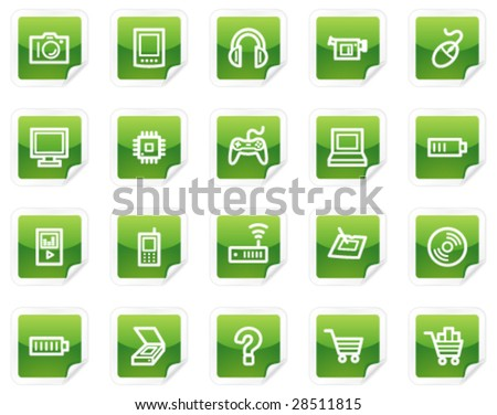 Electronics web icons, green sticker series - stock vector
