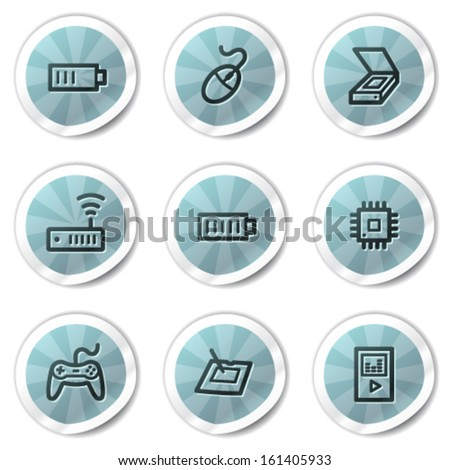 Electronics web icons set 2, blue shine stickers series - stock vector