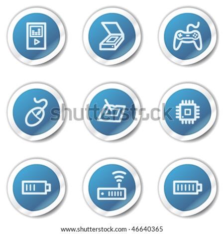 Electronics web icons set 2, blue sticker series - stock vector