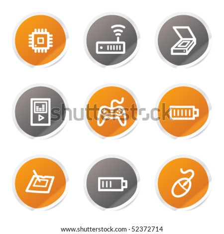 Electronics web icons set 2, orange and grey stickers - stock vector