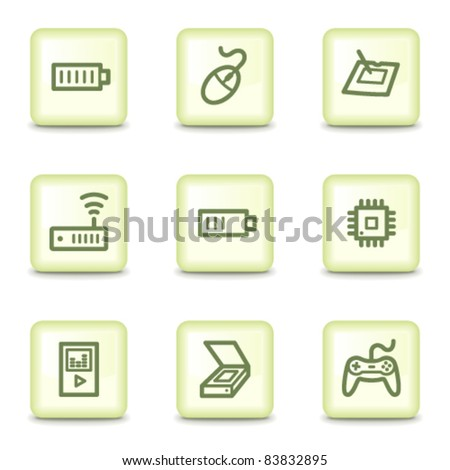 Electronics web icons set 2, salad green buttons - stock vector
