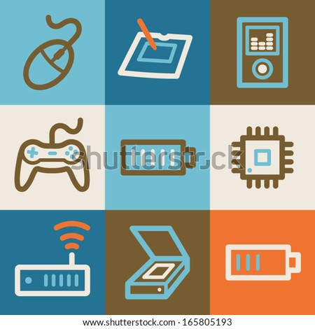 Electronics web icons, vintage series - stock vector