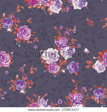Elegance Beautiful Rose bouquet pattern design, floral vector illustration - stock vector