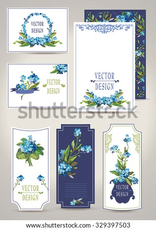 Elegance Beautiful set of invitation cards with flowers elements. Wedding collection, floral vector illustration - stock vector