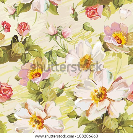 Elegance Colorful texture for decorating background. Seamless pattern with of flowers. Floral vector illustration. - stock vector