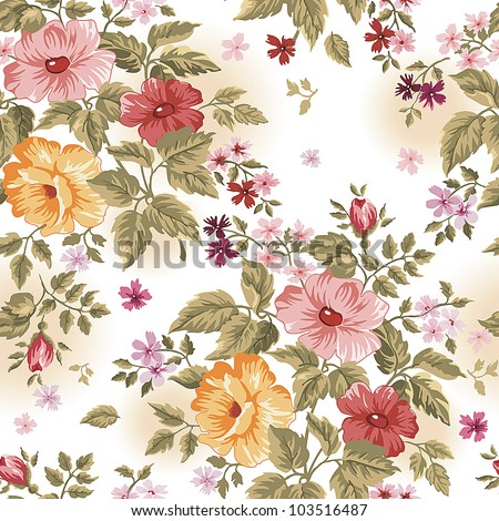 Elegance Colorful texture for decorating background. Seamless pattern with of pink flowers. Floral vector illustration. - stock vector
