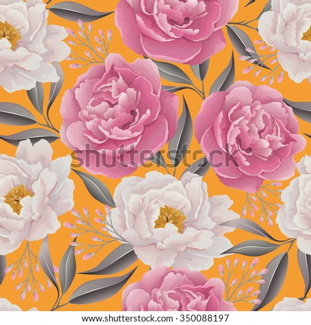 Elegance Seamless color peony pattern on the yellow background. Background for web pages, wedding invitations, save the date cards. Flower vector background. EPS 10 vector. - stock vector