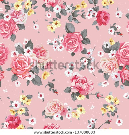 Elegance Seamless floral pattern with beautiful roses, vintage vector illustration - stock vector