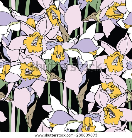 Elegance Seamless pattern with daffodils, vector floral illustration in vintage style - stock vector
