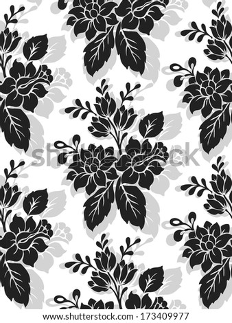 Elegance Seamless pattern with flowers narcissus on black background, vector floral illustration in modern style  - stock vector