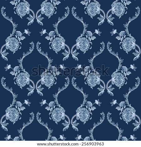 Elegance Seamless pattern with flowers ornament, vector floral illustration in vintage style - stock vector