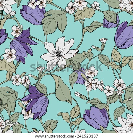 Elegance Seamless pattern with flowers Plumeria, vector floral illustration in vintage style - stock vector