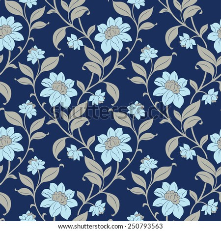 Elegance Seamless pattern with flowers poppies and daisies, vector floral illustration in vintage style - stock vector