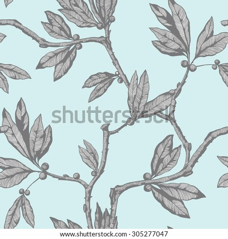 Elegance Seamless pattern with leafs ornament, vector floral illustration in vintage style - stock vector