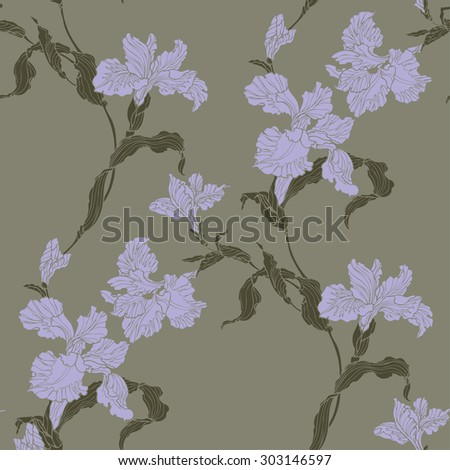 Elegance Seamless pattern with violet iris flower, vector  floral illustration in vintage style - stock vector
