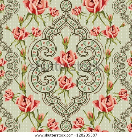 Elegance Vintage Seamless floral background - stock vector