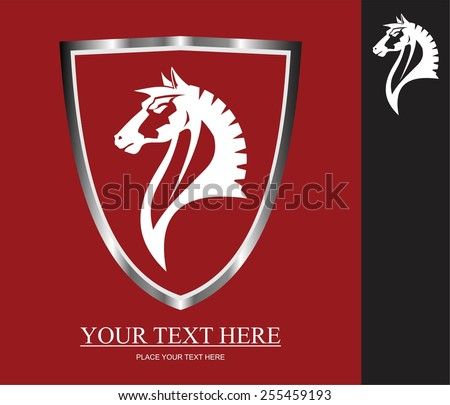 Elegance wild horse head icon. wild horse icon framed by metallic shield. White horse head over the red background. Suitable for your mascot, corporate identity, illustration for apparel. etc - stock vector